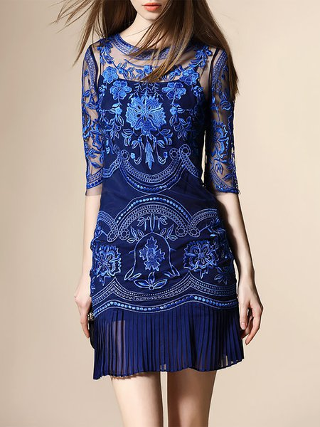 Blue Half Sleeve Embroidered Sheath Mini Dress