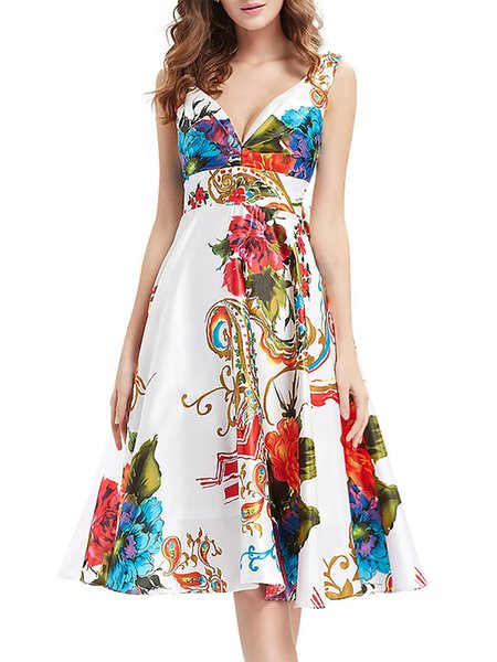 White Swing Elegant Floral-print Sweatheart Midi Dress