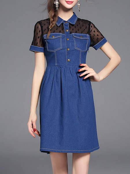 Blue Cotton-blend Shirt Collar Short Sleeve Polka Dots Mini Dress