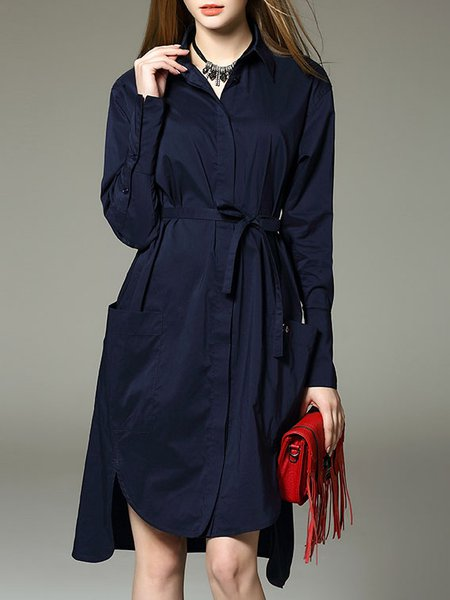 Dark Blue H-line Asymmetric Long Sleeve Midi Dress