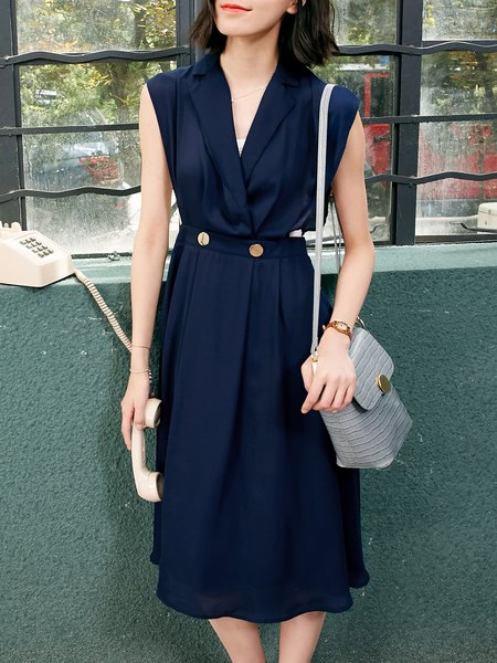 Blue A-line Simple Lapel Polyester Midi Dress