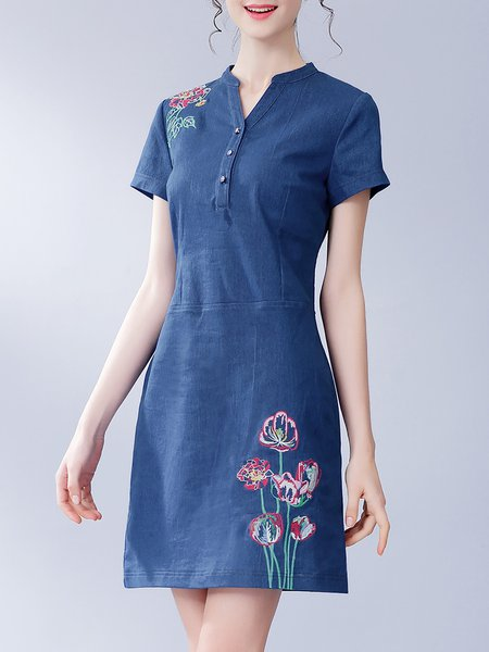 Short Sleeve Stand Collar Casual Mini Dress