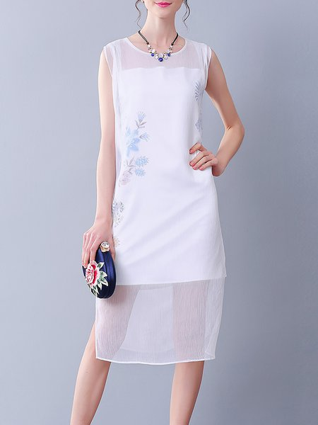 White H-line Sleeveless Polyester Crew Neck Midi Dress