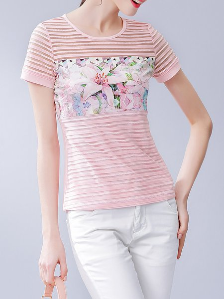 Printed H-line Casual Crew Neck Short Sleeve T-Shirt