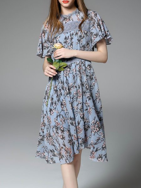 Printed Short Sleeve A-line Floral Girly Midi Dress