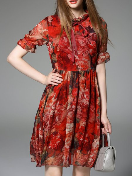 Red Short Sleeve Stand Collar Printed Midi Dress
