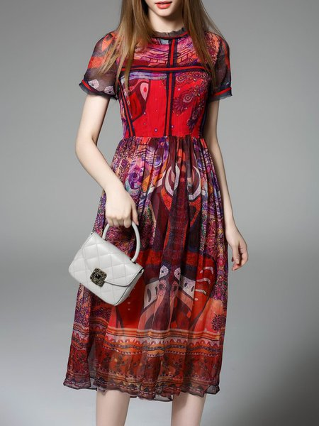 Red Vintage A-line Stand Collar Tribal Midi Dress