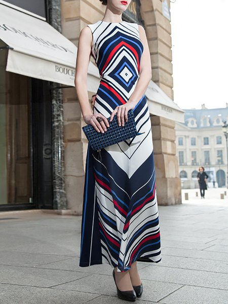 Multicolor Geometric Crew Neck A-line Sleeveless Maxi Dress