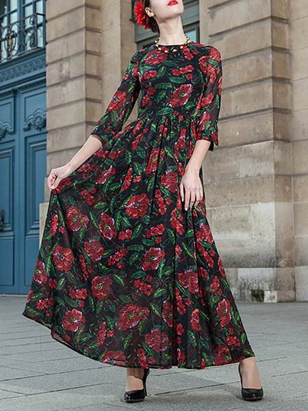 Red Swing Polyester 3/4 Sleeve Printed Maxi Dress