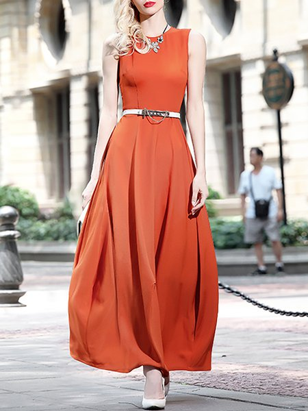 A-line Sleeveless Simple Crew Neck Maxi Dress