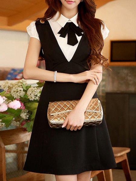 Black Nylon Spaghetti Elegant Plain Mini Dress