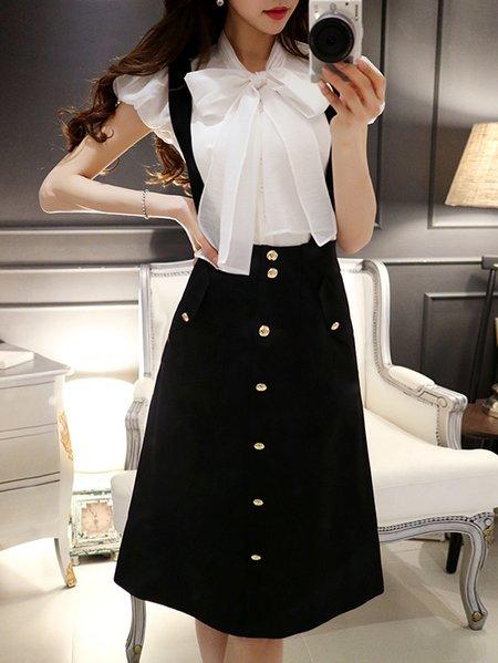Elegant A-line Spaghetti Plain Midi Skirt