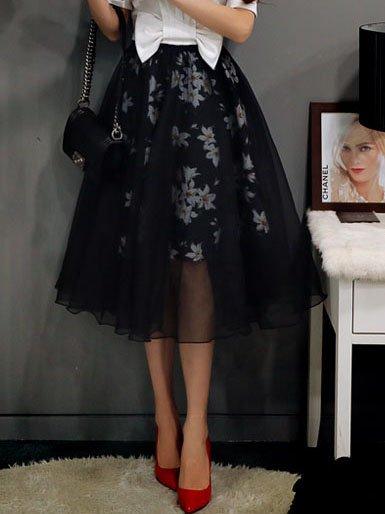 Black Elegant Polyester Floral-print Midi Skirt