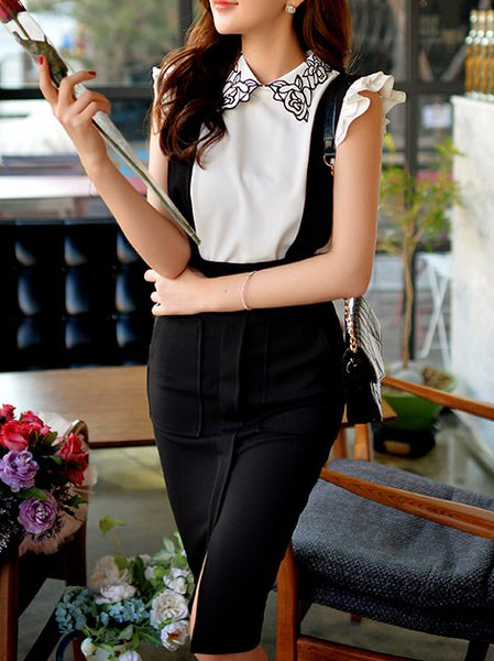 White Sweet Polyester Shirt Collar Blouse