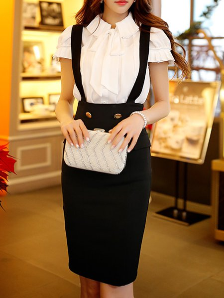Short Sleeve Elegant Shirt Collar Blouse