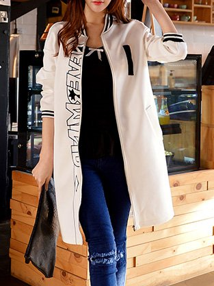 White Stand Collar H-line Long Sleeve Coat