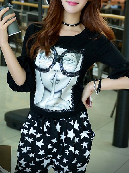 Black Polyester Printed Street T-Shirt