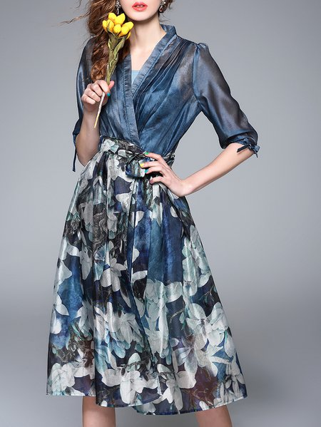 Blue Floral-print Half Sleeve Chiffon Crew Neck Midi Dress