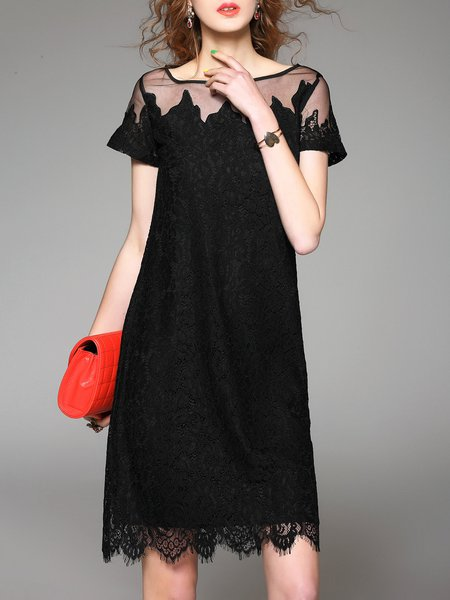 Black Short Sleeve Crew Neck Lace A-line Midi Dress