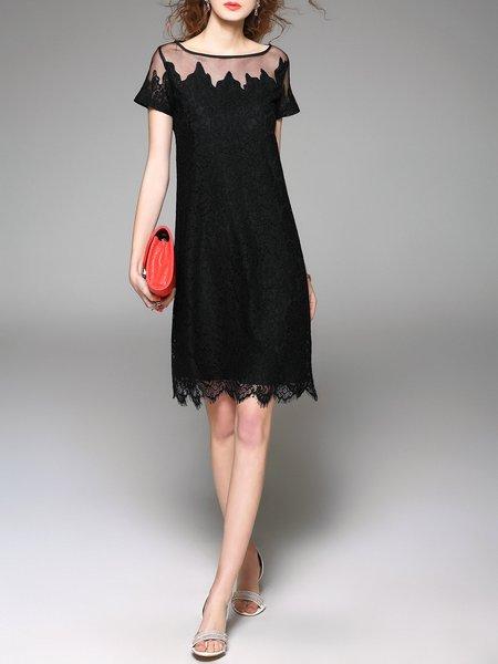 Stylewe Plus Size Black Midi Dress Daytime Dress Short