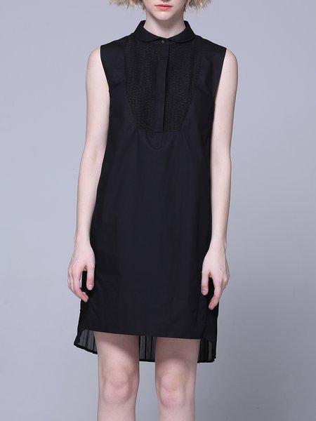 Sleeveless Peter Pan Collar Simple Polyester Paneled Midi Dress
