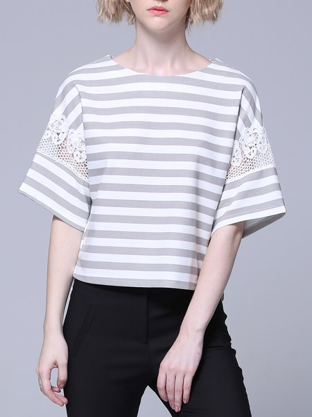 Crew Neck Lace Simple Paneled Short Sleeve T-Shirt