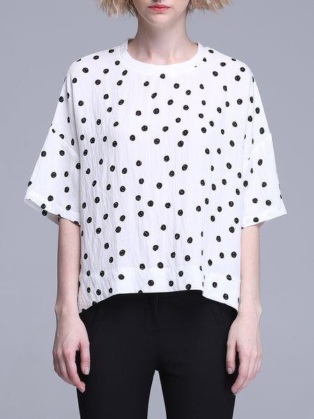 Casual Half Sleeve H-line Polka Dot Blouse