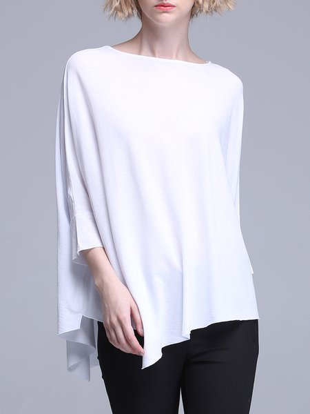 White Asymmetrical Batwing T-Shirt