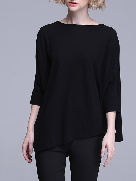 Crew Neck Plain Simple Batwing Asymmetrical T-Shirt