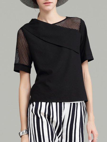 Black Paneled Simple Asymmetrical Plain Blouse