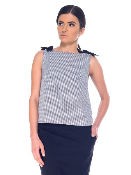 Black-white Casual Checkered/Plaid Tops with Button-back Placket