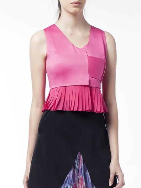 Fuchsia Sleeveless V Neck Blouse