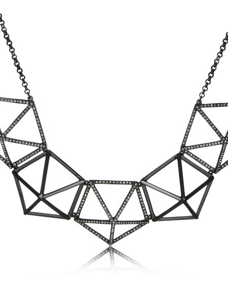 Black Minimalist Geometry Necklace