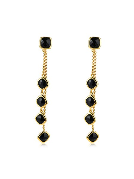 Golden Drop 925 Sterling Silver Nature Agate  Black Stones Earrings
