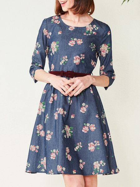Floral Print Casual 3/4 Sleeve Midi Dress with Belt