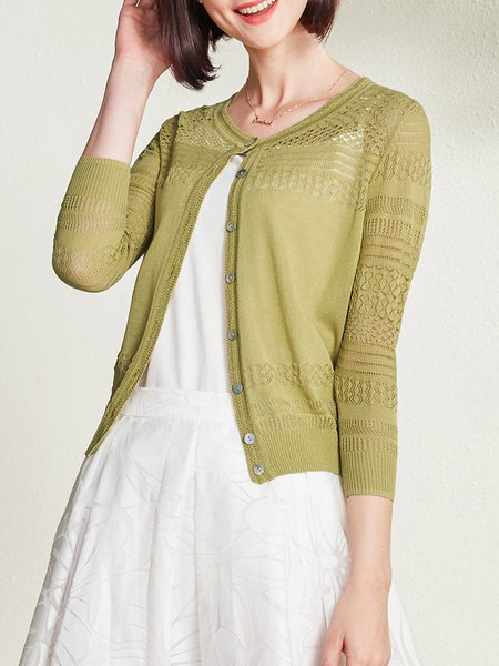 3/4 Sleeve Crew Neck Casual Pierced Knitted Cardigan