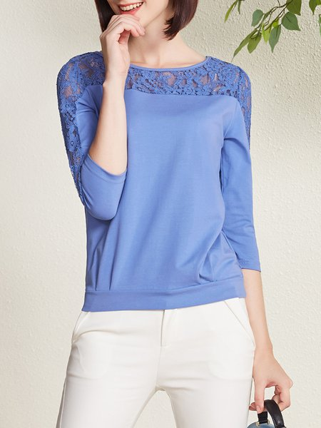Blue 3/4 Sleeve Crew Neck Lace Paneled T-Shirt