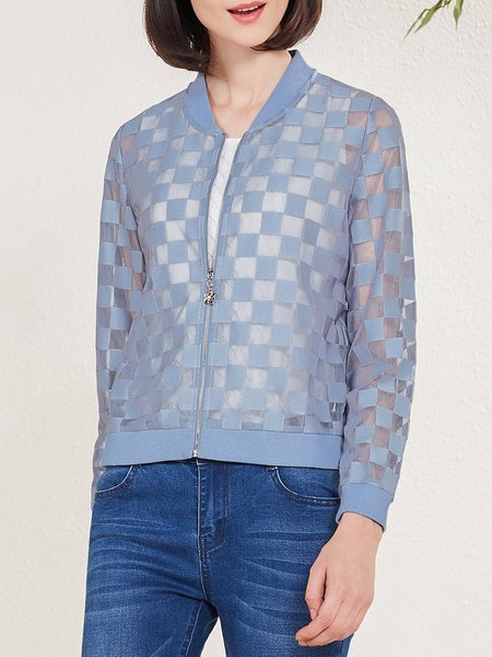 Blue H-line Casual See-through Look Bomber Jacket