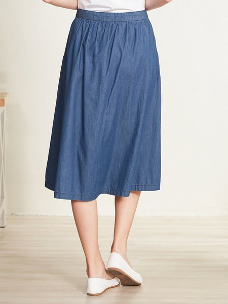 Blue Casual Cotton A-line Pockets Midi Skirt - StyleWe.com