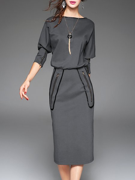 Gray Bateau/boat Neck Cotton-blend Sheath 3/4 Sleeve Midi Dress