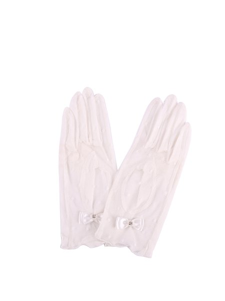 White Casual Mesh Cotton Glove