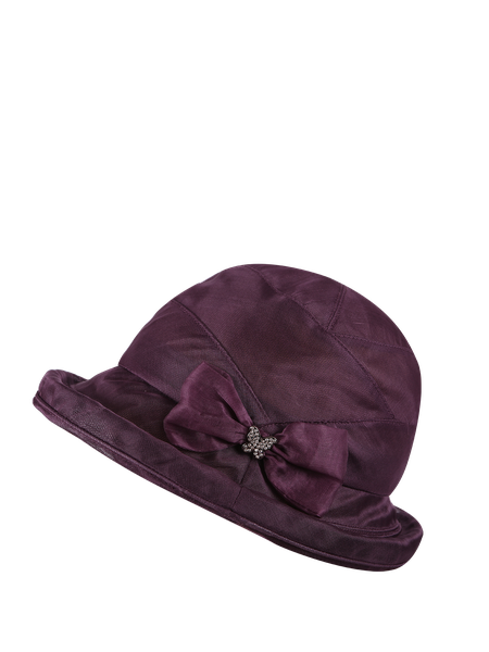 Purple Solid Bow Silk Vintage Style Hat