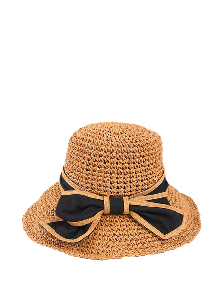 Camel Resort Bowknot Braided Hat