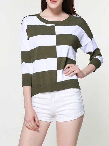 Knitted Crew Neck 3/4 Sleeve Casual High-Low Sweater
