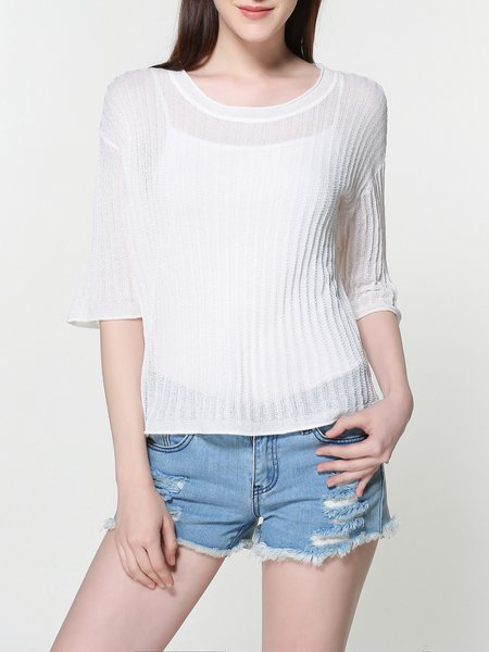 Asymmetric Casual Crew Neck Half Sleeve Knitted Tunic
