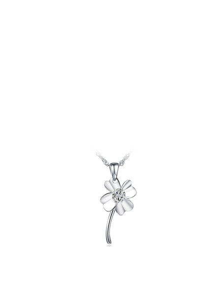 Silver Zircon Flower 925 Sterling Silver Necklace