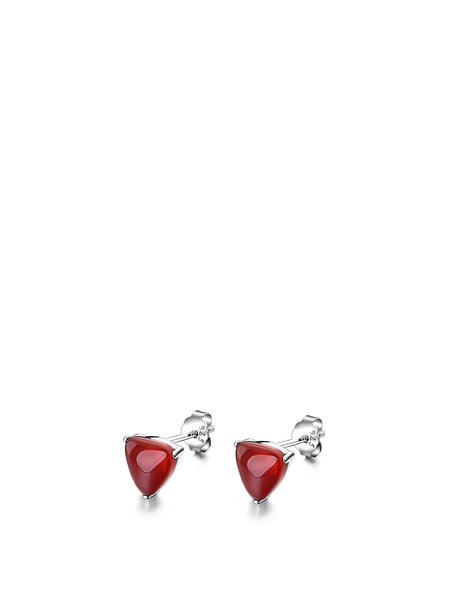 Triangle 925 Sterling Silver Agate Earrings