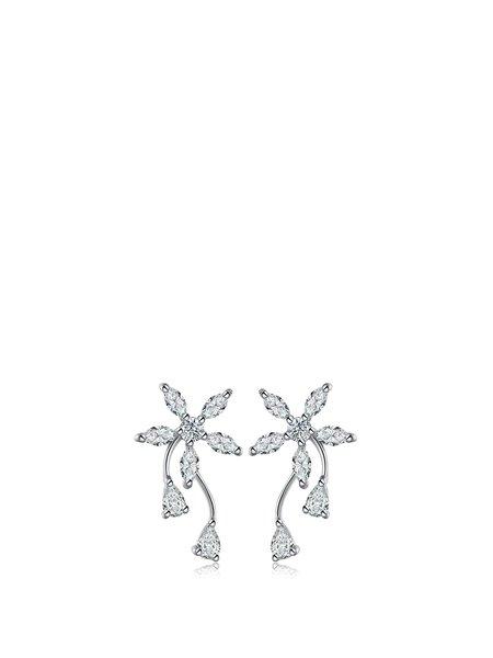 Silver Flower Zircon 925 Sterling Silver Earrings