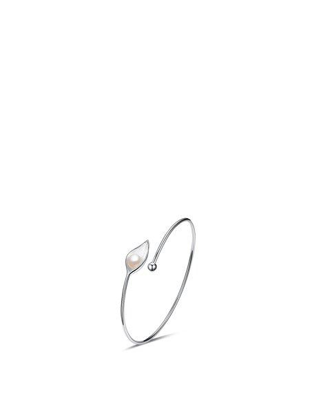 Silver 925 Sterling Silver Round Adjustable Pearl Bracelet