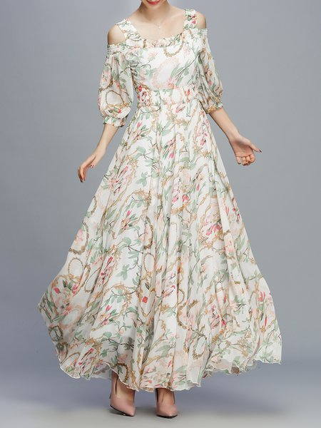 Apricot Cold Shoulder Square Neck Floral Print Maxi Dress